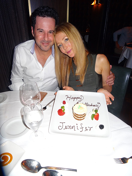 Jennifer Finnigan and husband Jonathan Silverman celebrate Finnigans birthday over carrot cake at the D Las Vegas