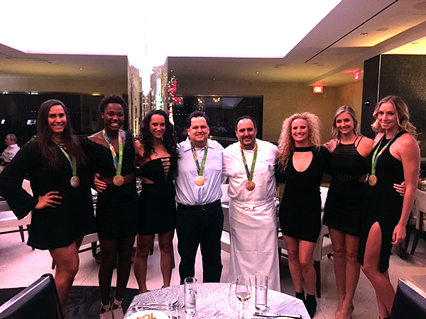 Chef Barry With Womens Water Polo Team at N9NE Steakhouse