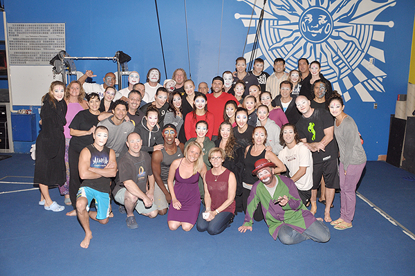Cody Miller with cast members of O by Cirque du Soleil