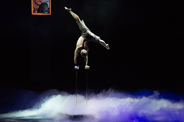 A Cirque du Soleil performer astounds the audience with his hand balancing act Sept 12 at the Luxor Tom Donoghue