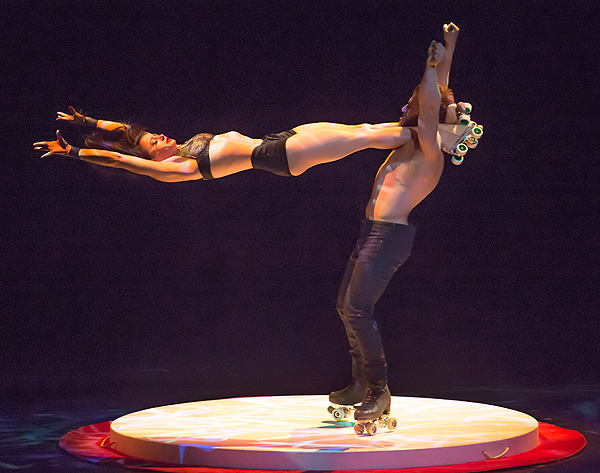 Billy and Emily England perform their iconic ABSINTHE roller skating act at Criss Angel HELP Sept 12 Tom Donoghue