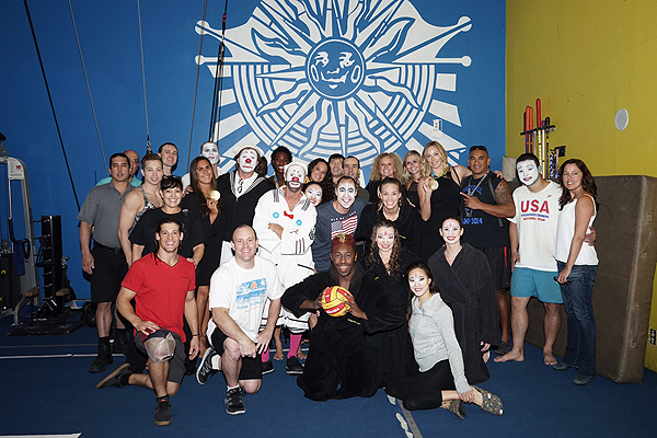 Olympic Gold Medalists with the cast of O by Cirque du Soleil Sept 9 2016