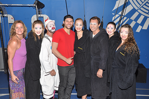 Rio Olympic Medalist Cody Miller with cast members of O by Cirque du Soleil
