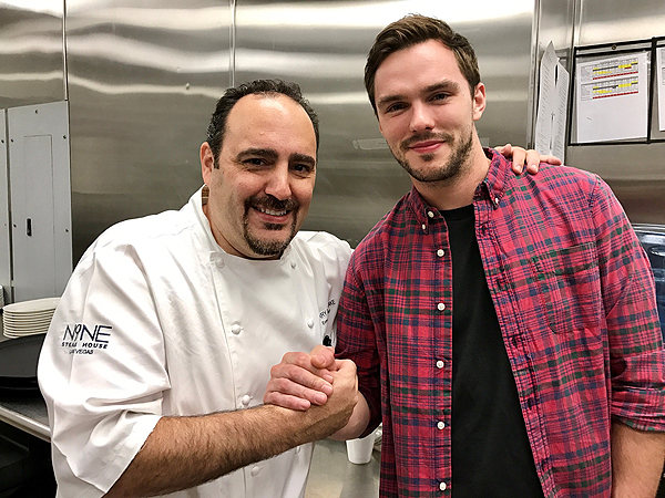 Nick Hoult with Chef Barry at N9NE Steakhouse 11.12.2016