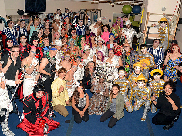 Steven Tyler with the cast of Michael Jackson ONE by Cirque du Soleil