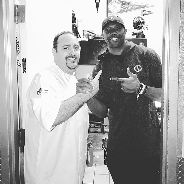 Terrell Owens with Chef Barry at N9NE Steakhouse 11.12.20146