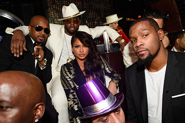 Jermaine Dupri Diddy Cassie Kevin Durant at Sean Diddy Combs and CIROC Ultra Premium Vodka host CIROC The New Year 2017 After Party at Lavo Casino Club at The Palazzo on December 31 2016