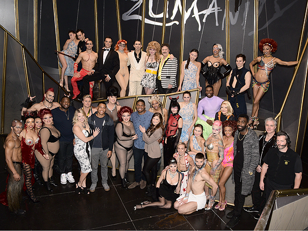 Michael Sam with the cast of Zumanity by Cirque du Soleil Jan. 7 2017