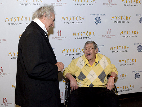 Jerry Lewis meets fan favorite Brian Dewhurst at Mystere by Cirque du Soleil