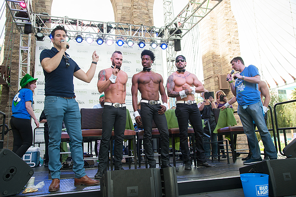 CHIPPENDALES cast pose with The Weekend in Vegas host Jeff Civillico before shaving heads at 8th annual St. Baldricks Day event at New York New York Hotel Casino
