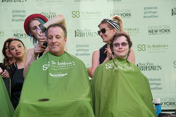 Cast members of BAZ Star Crossed Love participate as celebrity head shavers at 8th annual St. Baldricks Day head shaving event
