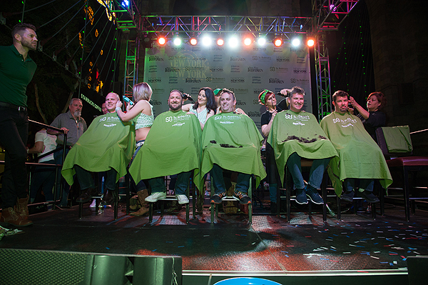 Members of New York New York Hotel Casinos Executive Food and Beverage Department brave a shave during eighth annual St. Baldricks Day head shaving event