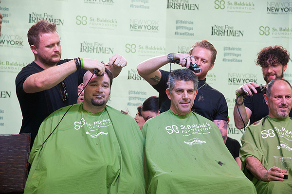 Tenors of Rock participate as celebrity head shavers at eighth annual St. Baldricks day head shaving event at New York New York Hotel Casino