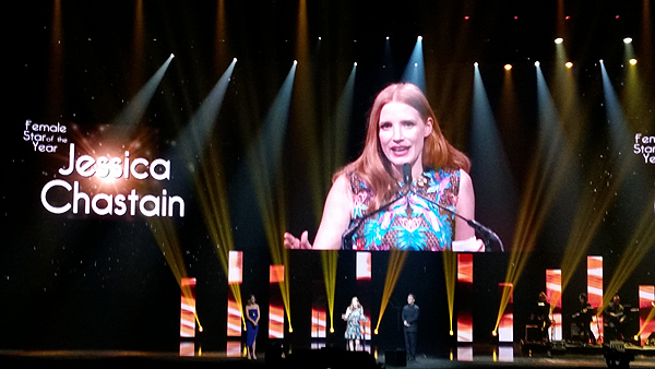 Jessica Chastain accepts Female Star of the Year award at 2017 CinemaCon - Photo credit: Judy Thorburn