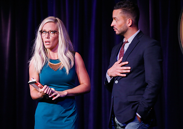 Kendra Wilkinson and Jai Rodriguez in Sex Tips for Straight Women from a Gay Man at Paris Las Vegas -Photo credit: Isaac Brekken/Getty Images for WE tv